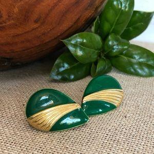 Vintage 1980's Green Enamel Pierced Earrings